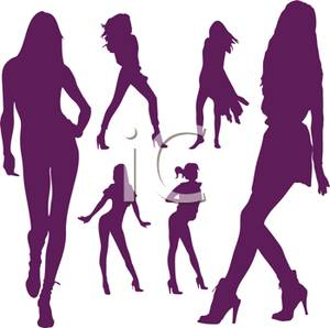 Of Sensual Models In Various Poses   Royalty Free Clipart Picture