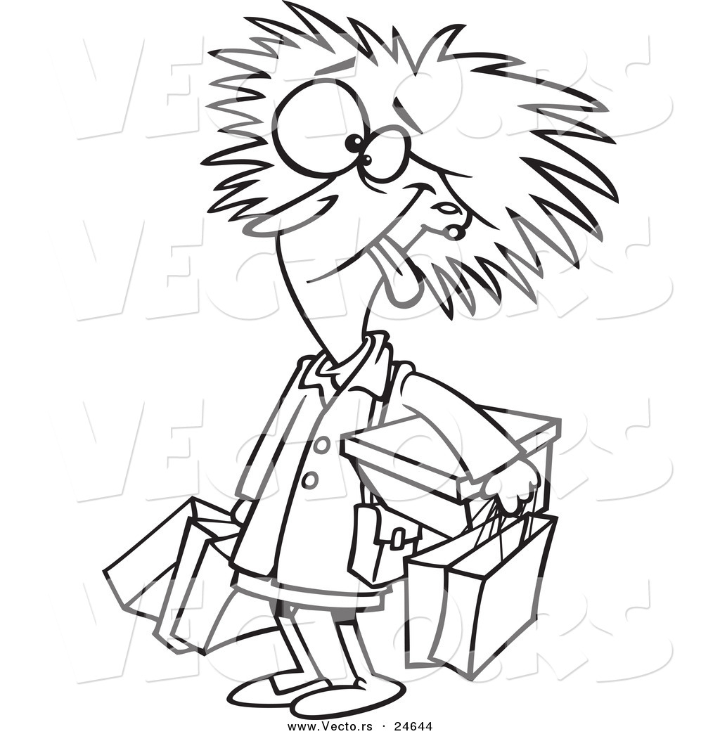 Preview  Vector Of A Cartoon Frazzled Black Friday Shopper Woman