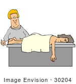 30204 Clip Art Graphic Of A Blond White Masseuse Woman Preparing To