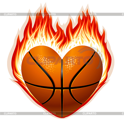 3230027 Basketball On Fire In The Shape Of Heartjpg Clipart