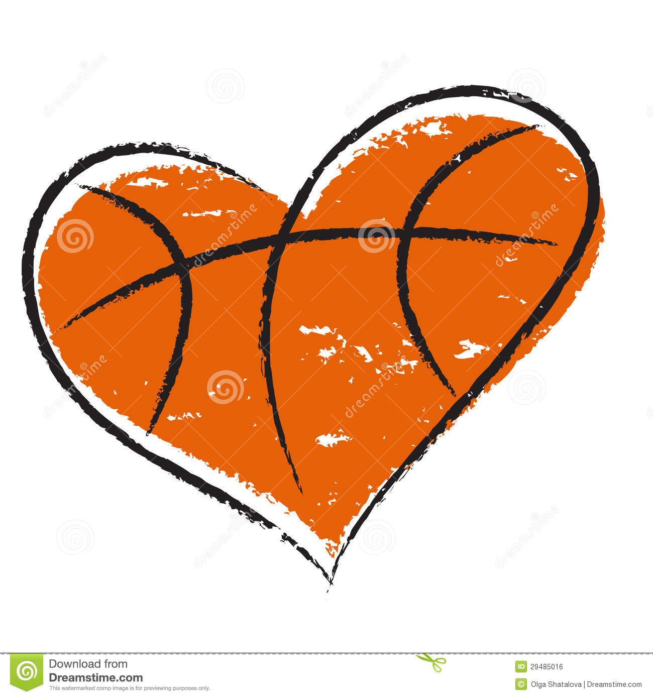 Basketball Heart Isolated On White Background For Sports Design