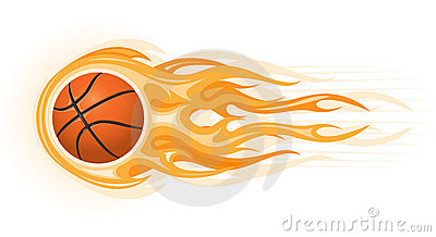 Basketball On Fire Clip Art Basketball Ball In Flame Stock