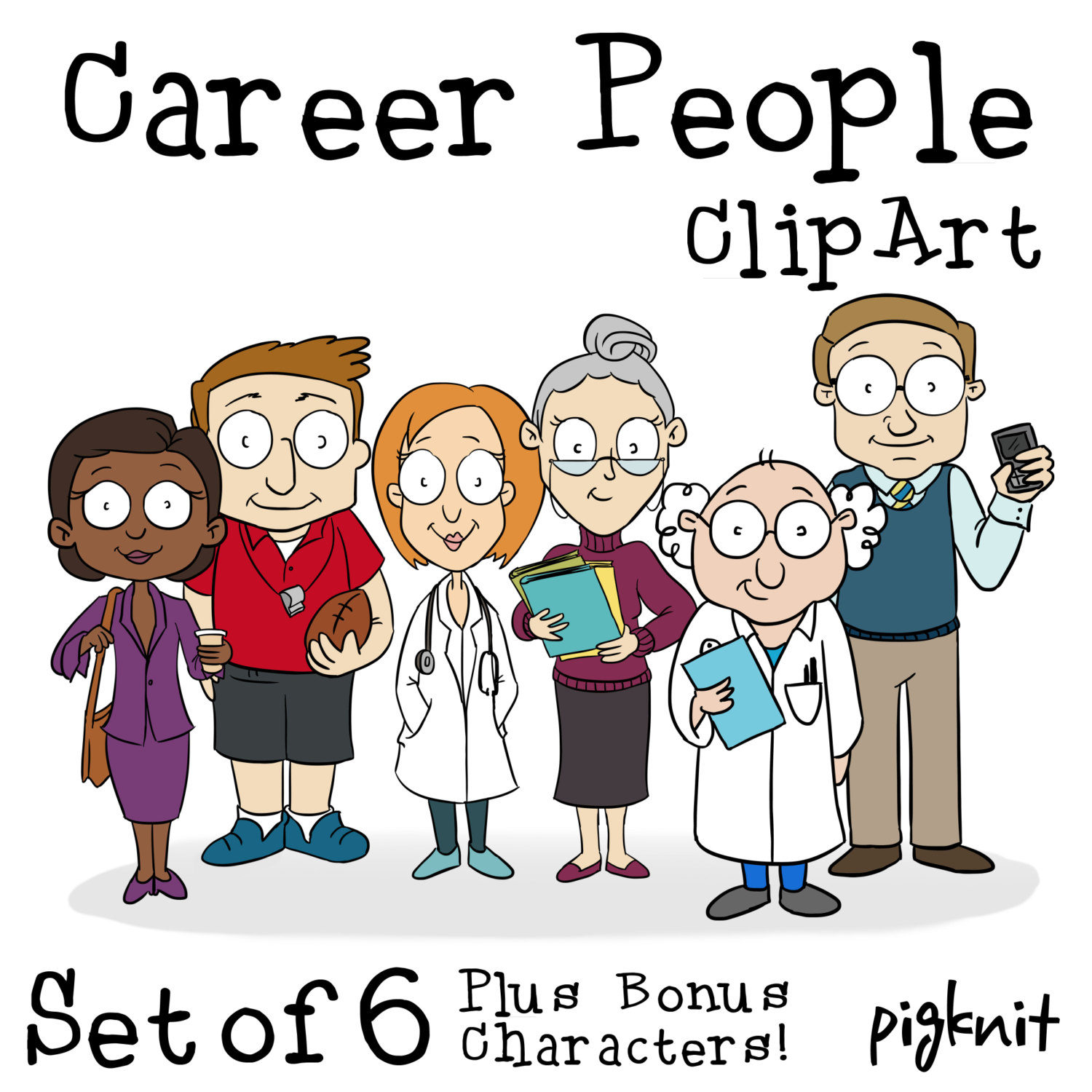 Career People Clip Art Cartoon Character Clip Art By Pigknit
