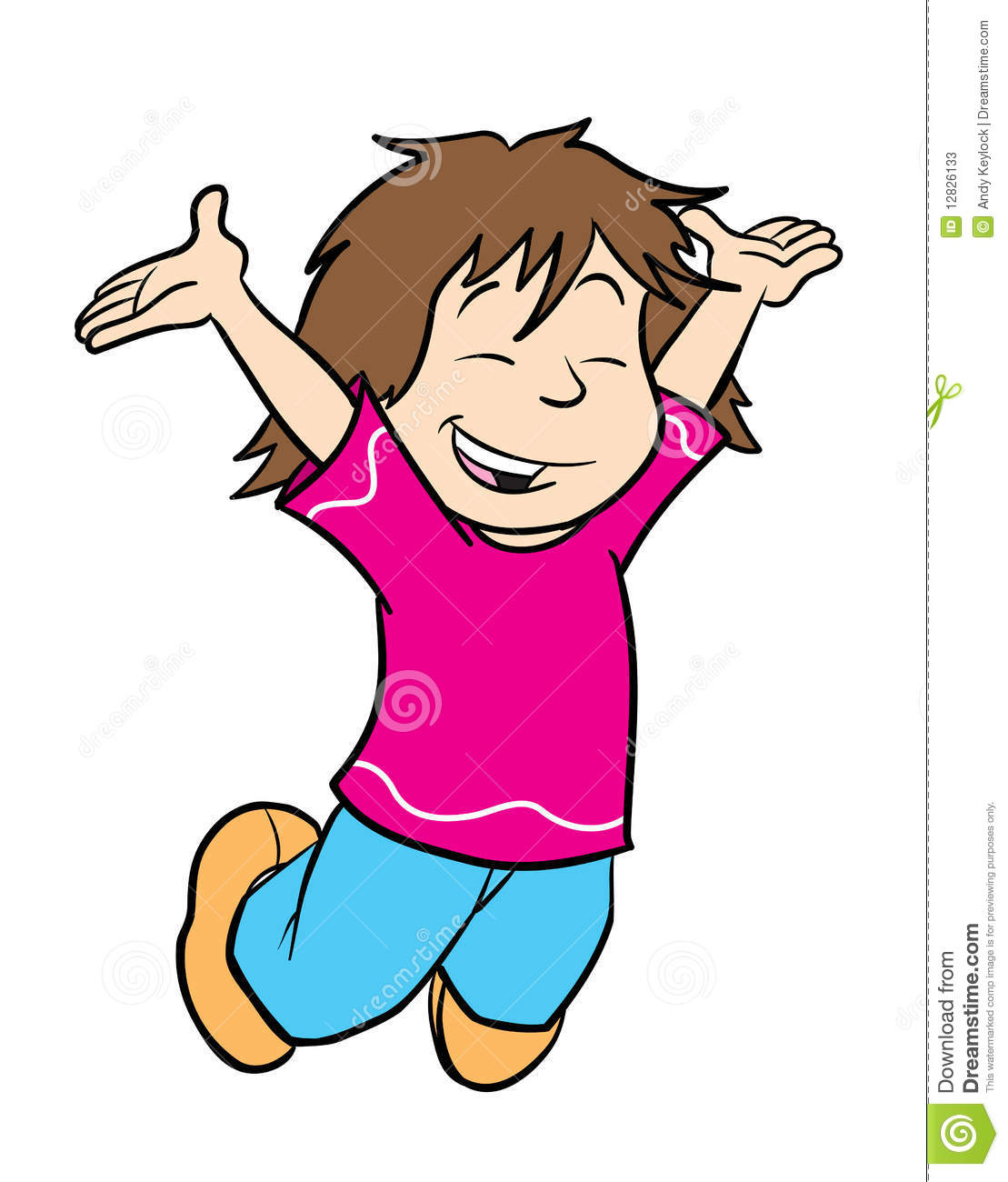 Cartoon Illustration Of A Cute Girl Jumping For Joy With Hands In The