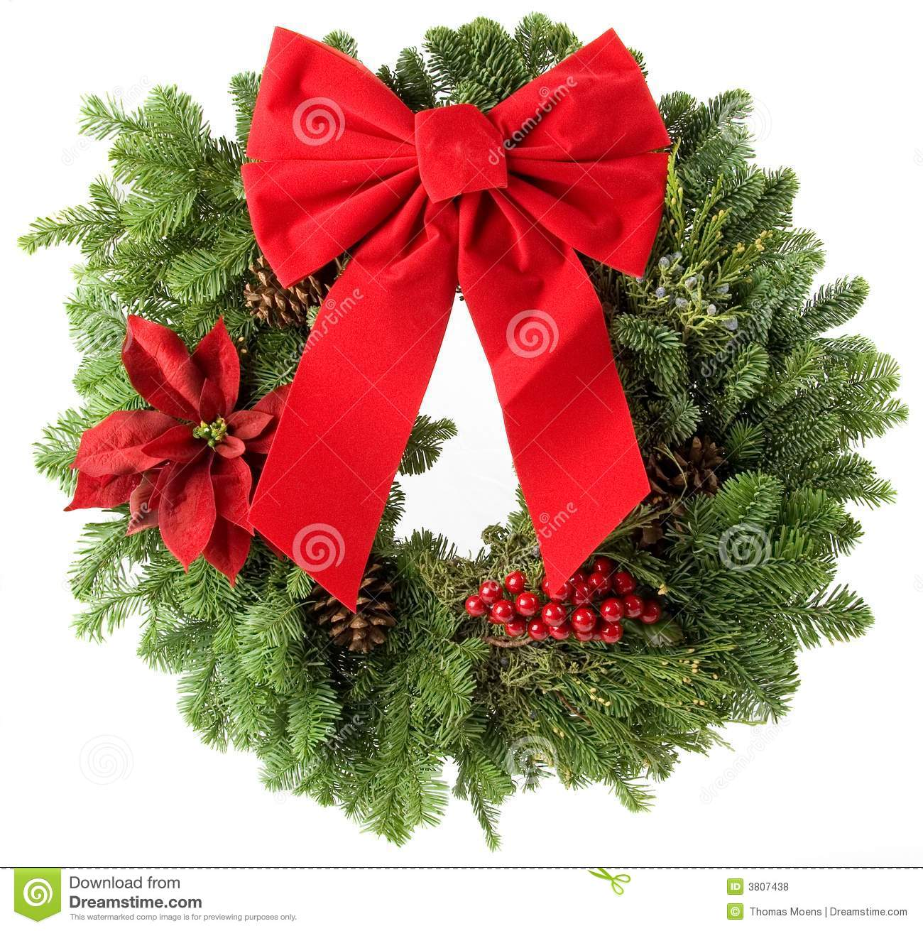 Christmas Wreath Made From Real Pine Boughs Isolated On White