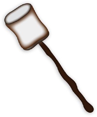 Clip Art Of A Roasted Marshmallow On A Stick
