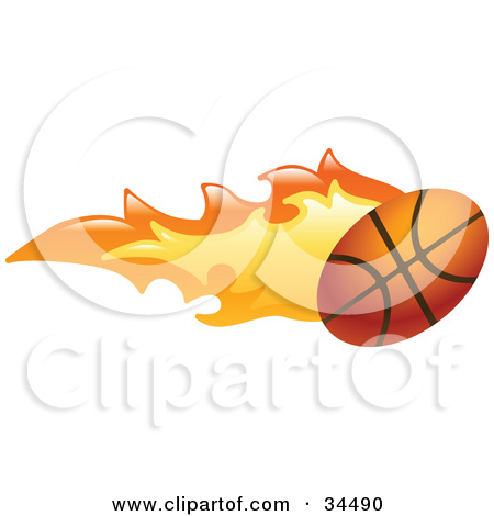 Clipart Illustration Of A Basketball On Fire By Geo Images  34490