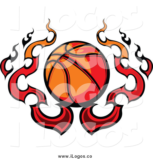 Clipart Of A Basketball With Fire Logo By Chromaco    5321