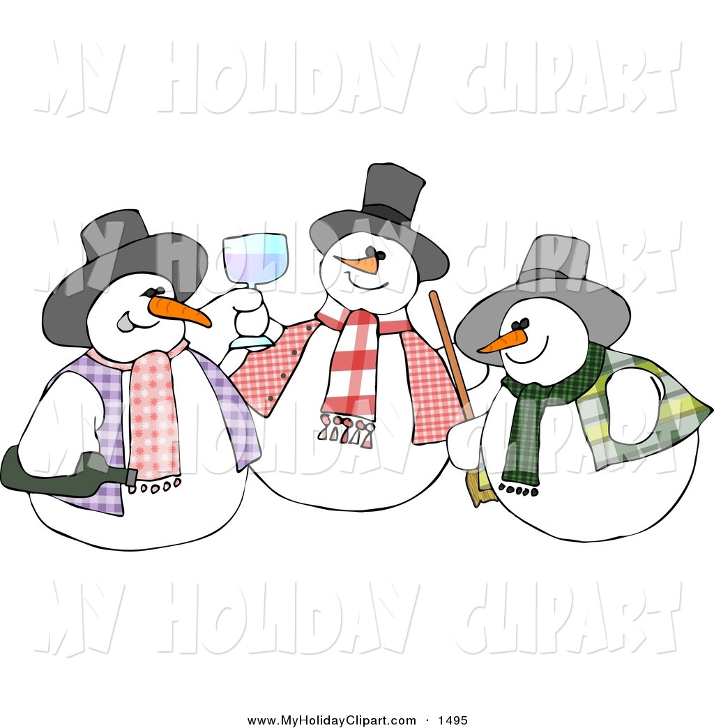 Larger Preview  Clip Art Of A Trio Of Snowmen Drinking And Toasting By