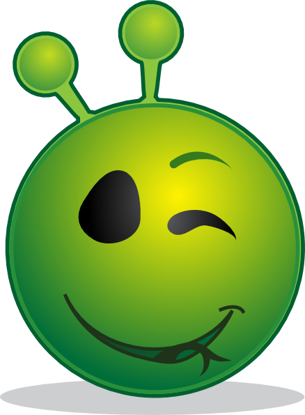 Smiley Green Alien Wink Clip Art At Clker Com   Vector Clip Art Online