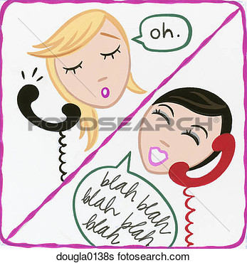 Stock Illustration Of Two Girls On The Phone Dougla0138s   Search Clip