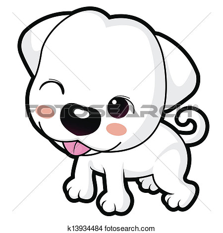 Wink Cute Puppy Mascot  Animal Character Design Series  View Large