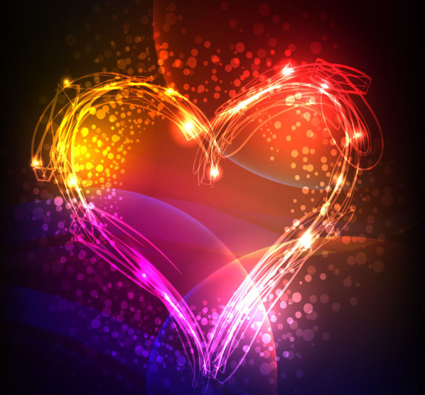 Abstract Colorful Neon Valentine Background   Download Free Vectors