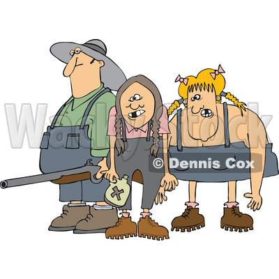 Cartoon Of A Redneck Hillbilly Man With A Shotgun And Women   Royalty