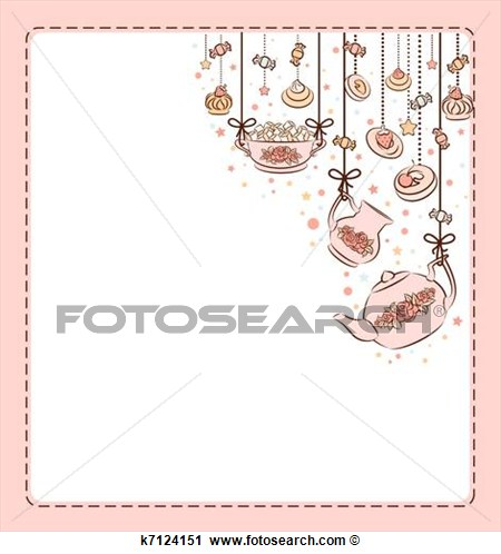 Clipart Of Vintage Tea Set And Sweet Cakes  K7124151   Search Clip Art