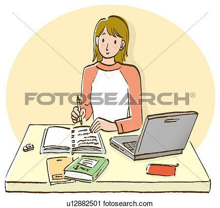 Clipart Of Woman Sitting At Desk And Writing Down On Notebook Front