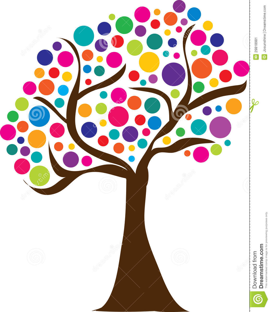 Cute Spring Tree With Colorful Balls Logo Or Clipart Or Easter Egg