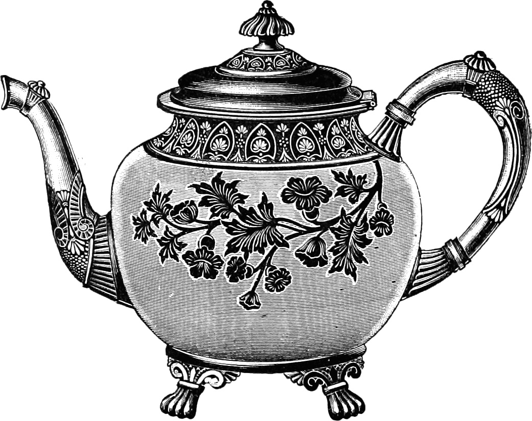 Free Clip Art Images   Vintage Teapot   Oh So Nifty Vintage Graphics