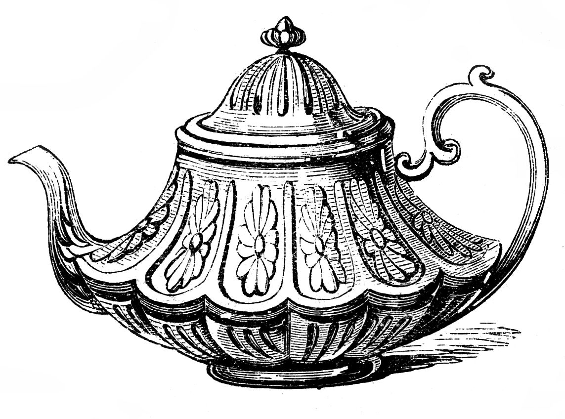 Free Vintage Clip Art   2 Ornate Teapots   The Graphics Fairy