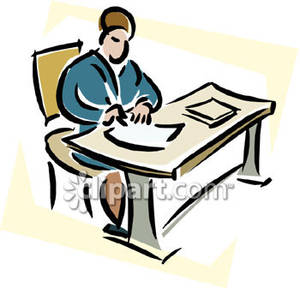 Person Writing At A Desk   Royalty Free Clipart Picture