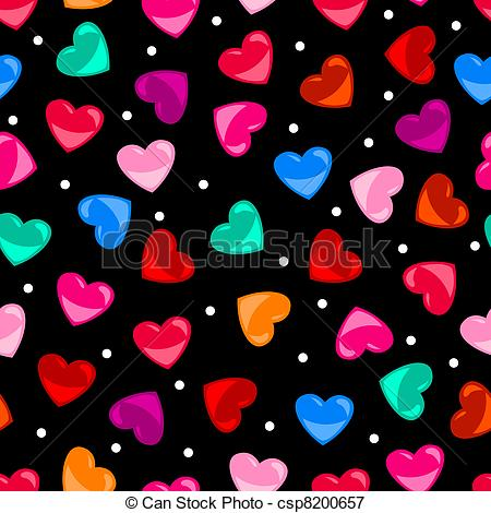 Vector   Seamless Colorful Heart Shape Pattern Over Black   Stock