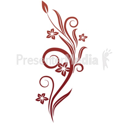 Vines Swirl Red Flowers   Wildlife And Nature   Great Clipart For