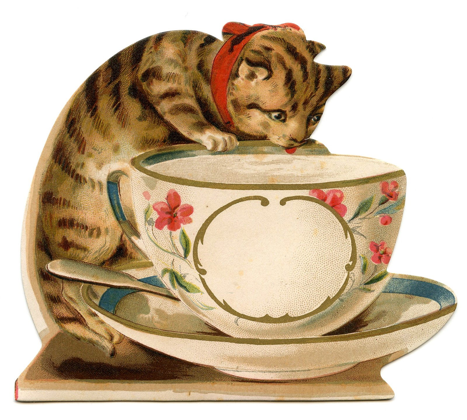 Vintage Image   Cat With Teacup   The Graphics Fairy