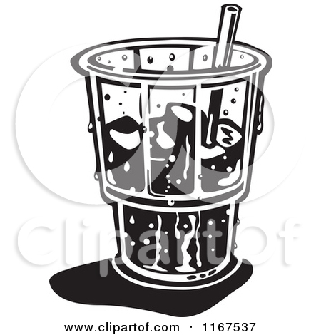 Black And White Retro Ice Cold Glass With A Straw And Ice