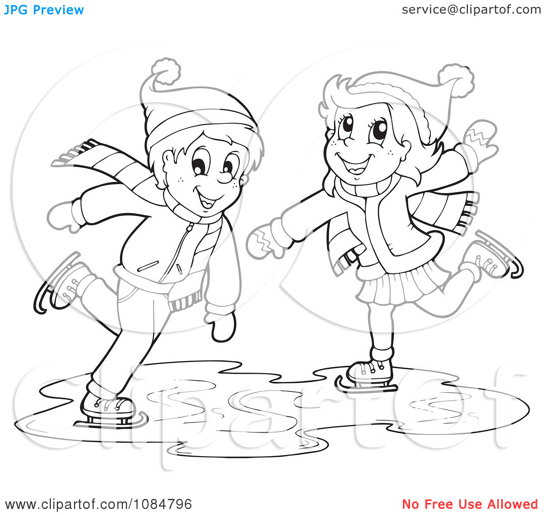 Cartoon Clipart Of A Black And White Chubby Devil Ice Skating Vector