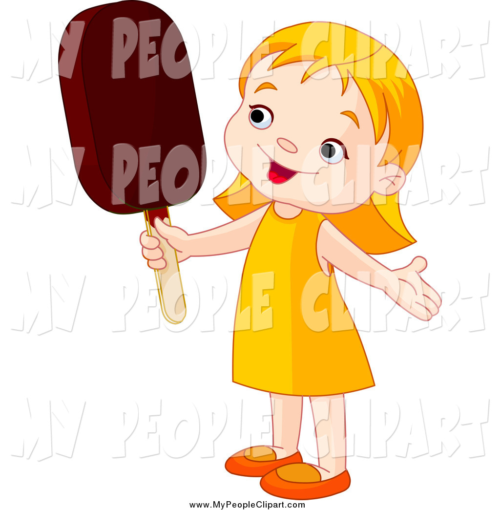 Clip Art Of A Cute White Toddler Girl Holding An Ice Pop By Pushkin