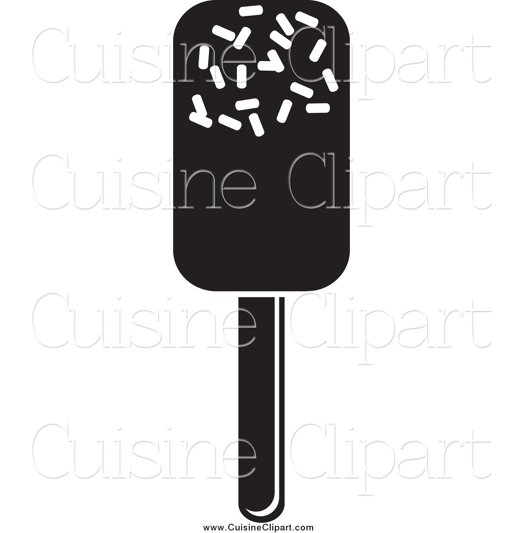 Cuisine Clipart Of A Black And White Ice Pop By Prawny    2008