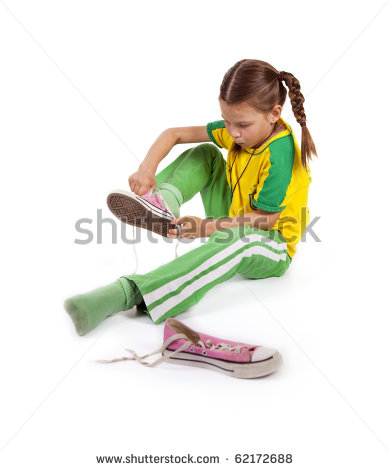 Girl Put On Shoes Clipart Girl Puts Sport Shoes On