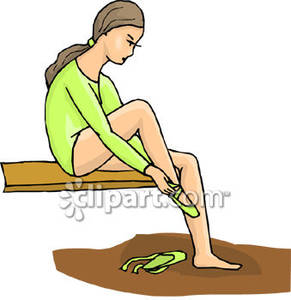 Girl Putting On Toe Shoes   Royalty Free Clipart Picture