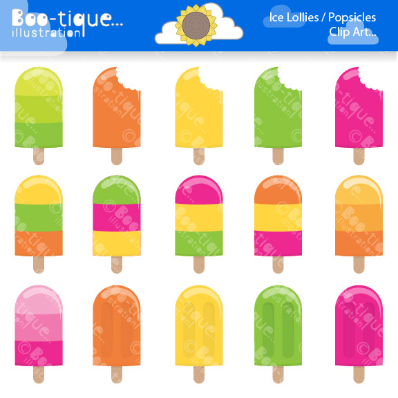 Ice Lollies   Popsicles Clipart    Boo Tique Illustration Clipart
