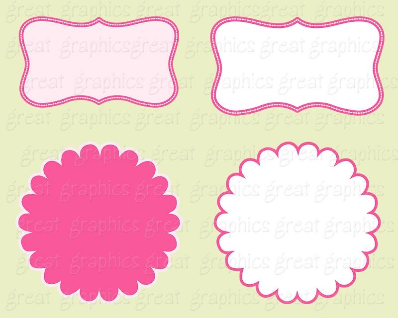 Printable Pink And Red Label Frame Digital Clip Art