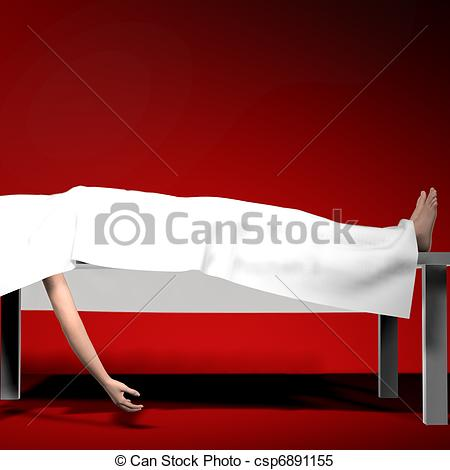 Sheet On Autopsy Table Feet And One Arm    Csp6891155   Search Clipart