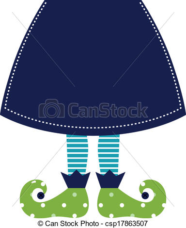 Vector Clipart Of Cute Christmas Elf Legs With Skirt Isolated On White