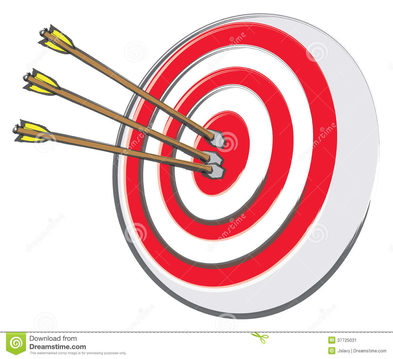 An Archery Target With Three Arrows At The Bullseye