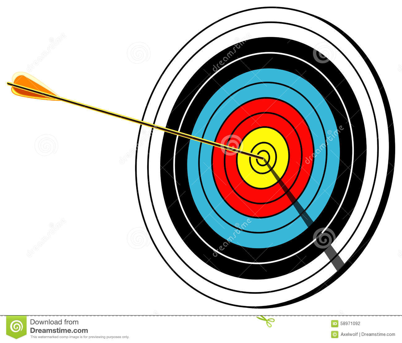 Archery Target With Arrow In Center Bullseye Shot On White Vector