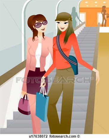 Clip Art Of Two Women Holding Shopping Bags And Walking Down A