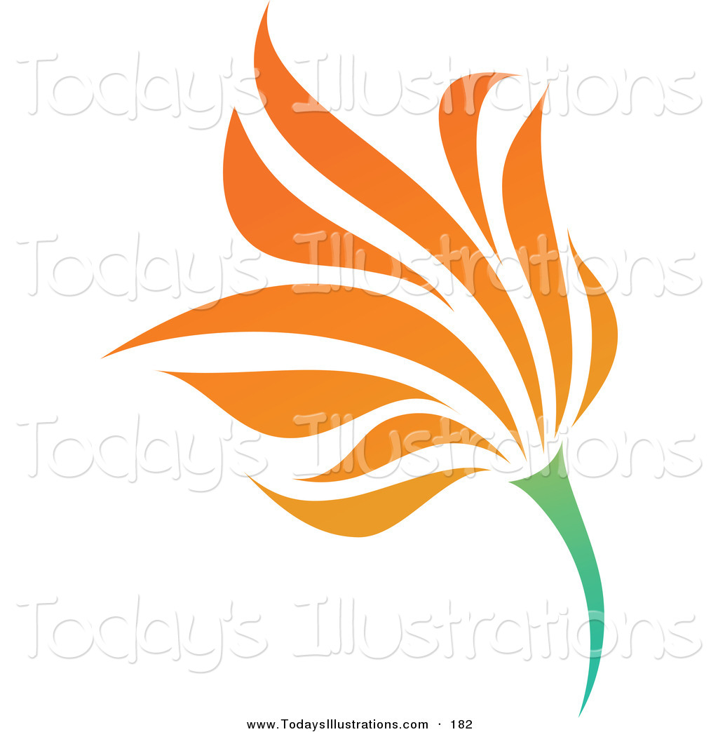 Clipart Of A Pretty Orange Flower Logo Icon On A Green Stem By Elena