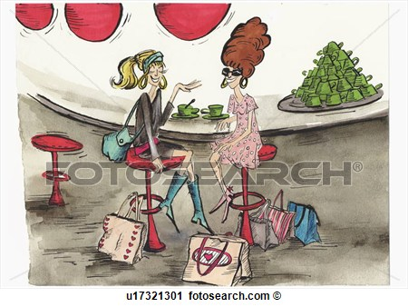 Clipart Of Two Women At Cafe After Shopping Trip