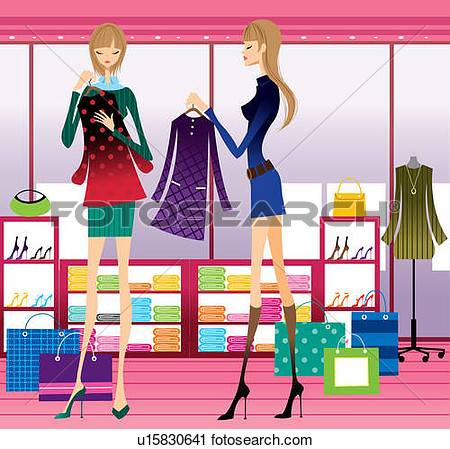 Clipart Of Two Young Women Clothes Shopping U15830641   Search Clip