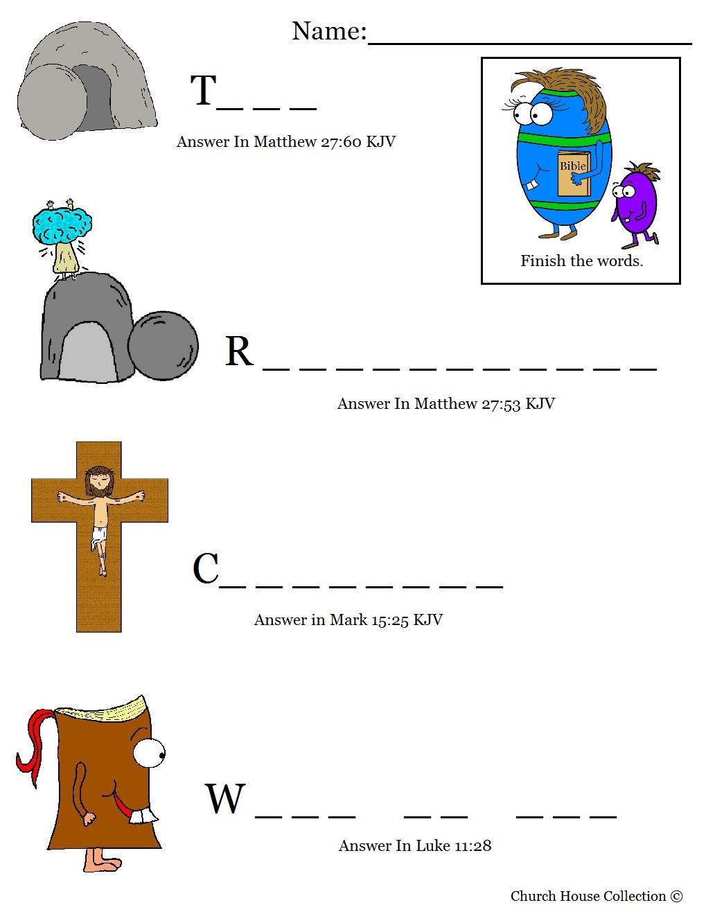 Easter Egg With Bible Fill In The Blanks Worksheet For Sunday School