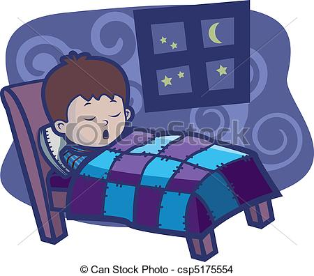Eps Vector Of Boy Sleeping   A Cartoon Boy Sleeping In A Bed