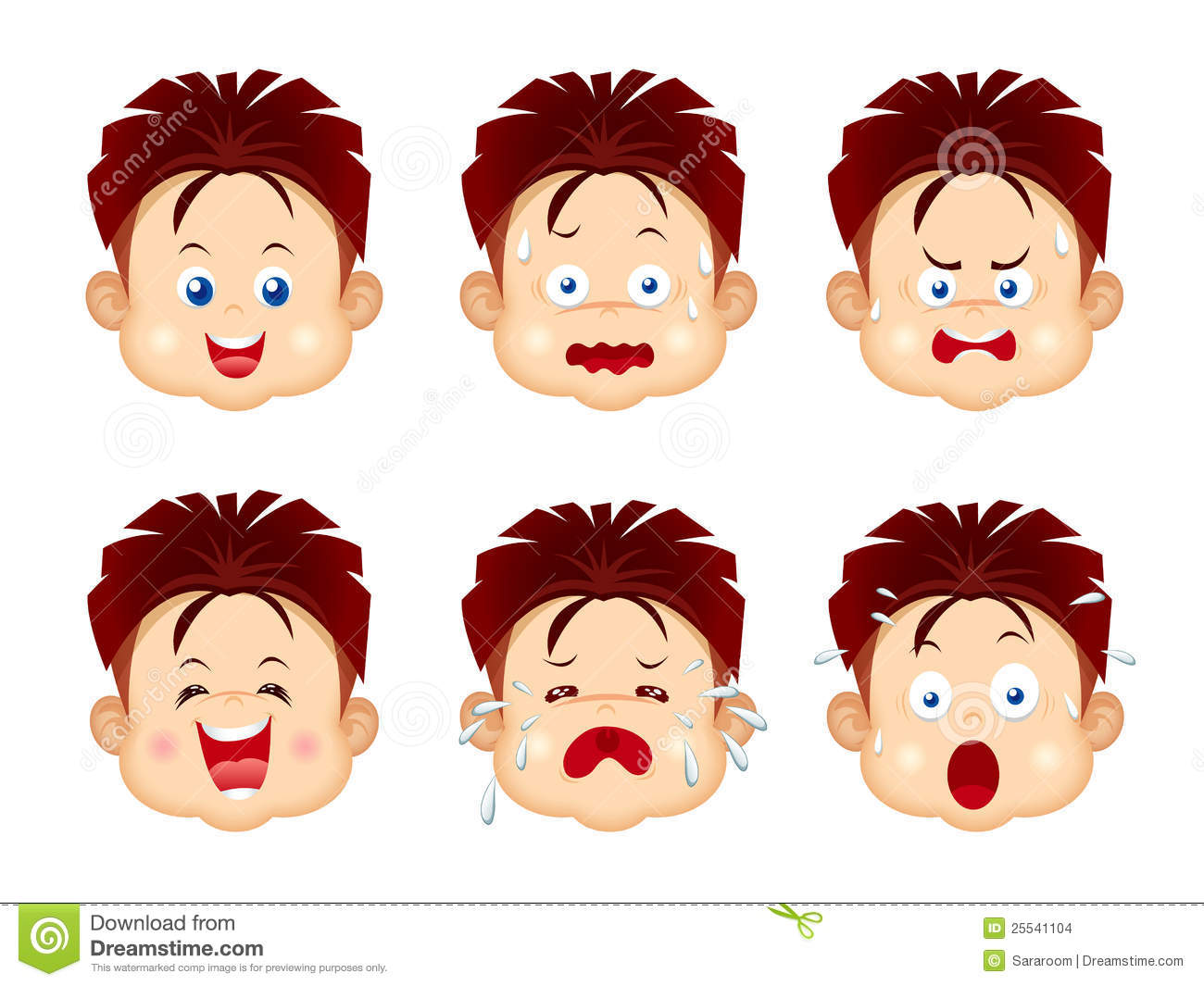 Kids Face Expressions Set Isolated On White