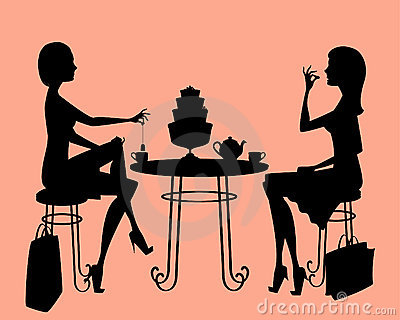 Silhouette Of Two Ladies Drinking Tea After A Long Day Shopping  Items