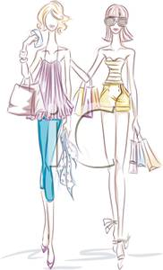 Two Women On A Shopping Spree   Royalty Free Clipart Picture