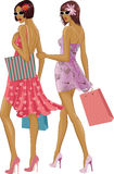 Two Women Shopping Bags Stock Vectors Illustrations   Clipart