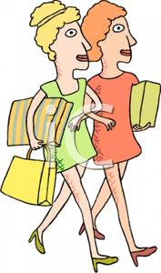 Two Women Walking Arm In Arm Carrying Shopping Bags   Royalty Free